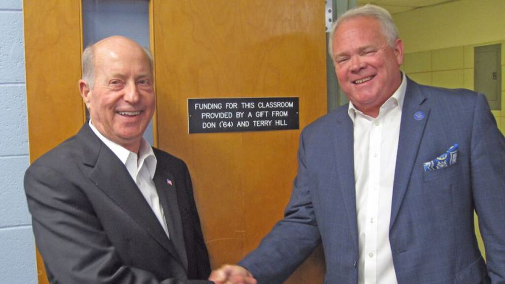 Pictured on the left is Don Hill and on the right is President Rick Brewer.