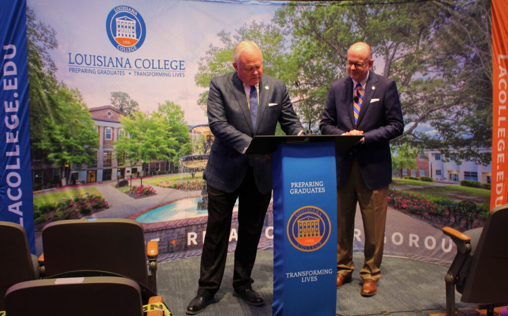 Photos by Sierra Boudreaux/ LC President Rick Brewer and Southwestern Baptist Theological Seminary President Adam W. Greenway sign a memorandum of understanding Thursday that will allow LC students to get a jumpstart on a master's of divinity at SWBTS.